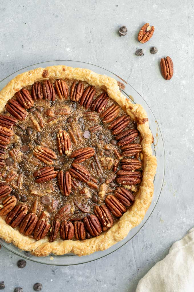 a whole vegan chocolate bourbon pecan pie, after baking
