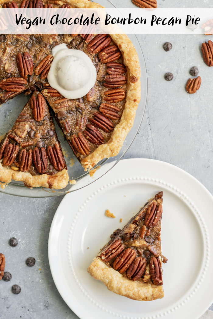 This vegan chocolate bourbon pecan pie is so good. A chocolatey, maple scented pie with toasty pecans and notes of bourbon. It's perfect served with a scoop of vegan vanilla ice cream! | thecuriouschickpea.com #vegan #pie #pecanpie #dessert