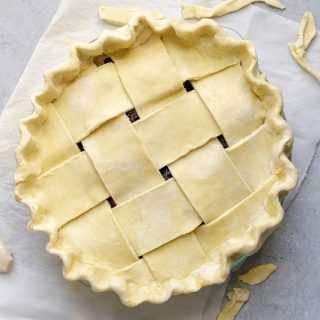 easy vegan pie dough, pre-baked pie double crusted with a lattice top