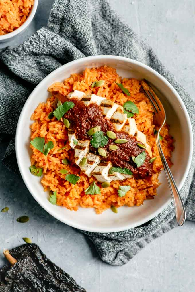 pumpkin mole with grilled tofu and mexican tomato rice