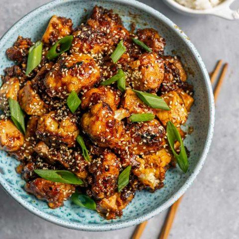 Sticky Teriyaki Tofu and Cauliflower with Soom Silan