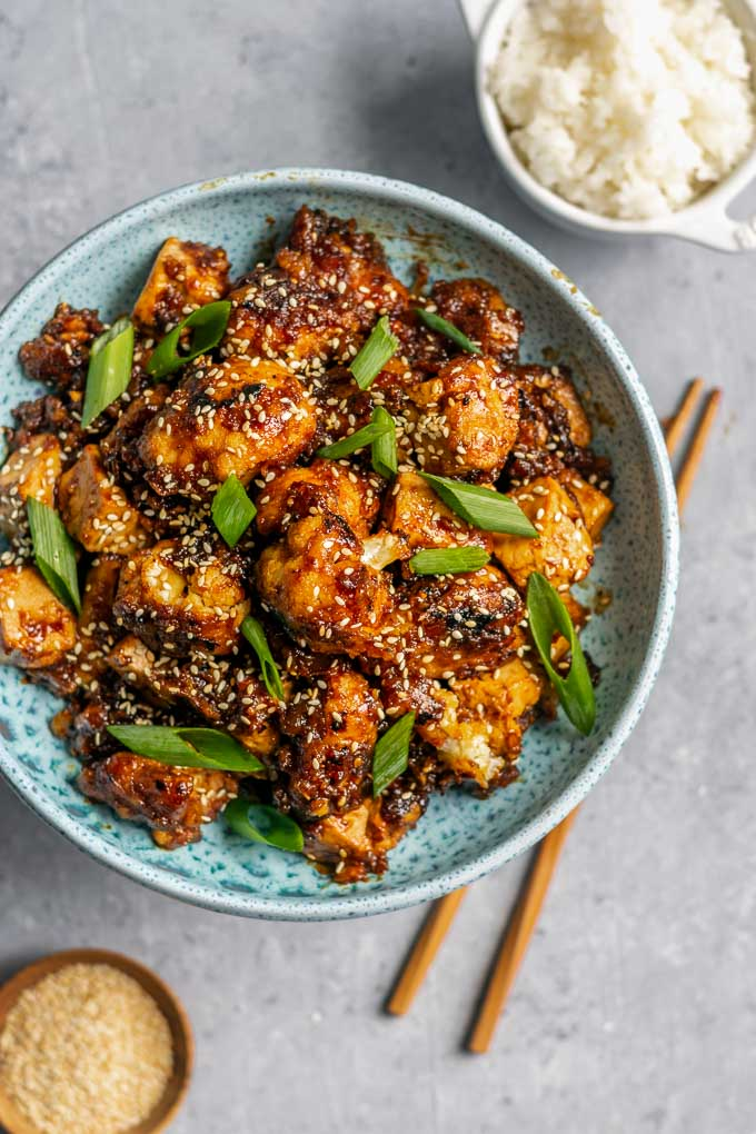 sticky teriyaki tofu and cauliflower