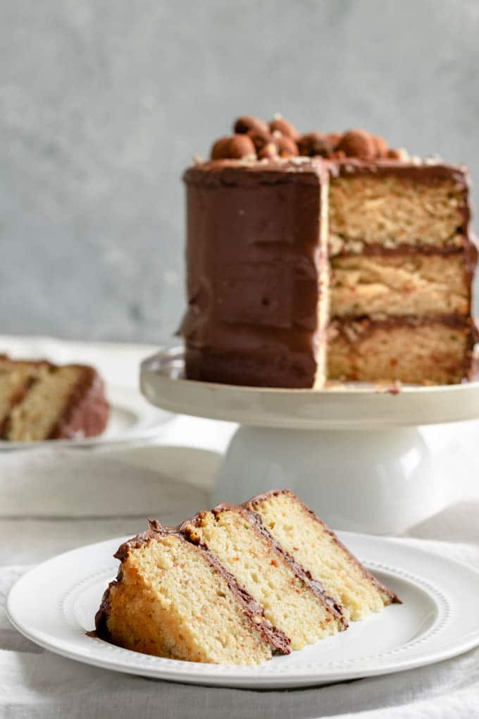 slices of a three layer vegan hazelnut cake frosted with a whipped chocolate ganache