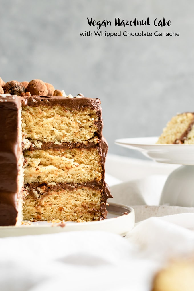 This vegan hazelnut cake is topped with a fluffy and rich whipped chocolate ganache. It's an incredibly delicious cake, with a moist and tender nutty tasting crumb complementing the creamy hazelnut-scented ganache perfectly.   thecuriouschickpea.com #vegancake #vegan #dessert #cake #hazelnuts #chocolate #vegandessert