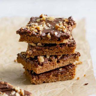 vegan mocha cinnamon bars, stacked