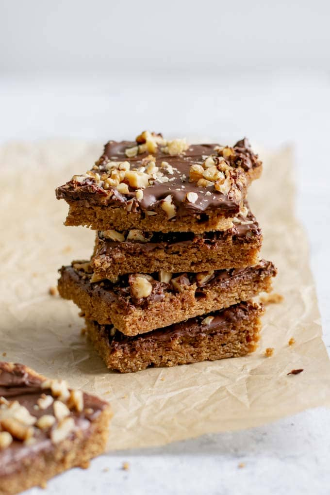 vegan mocha cinnamon bars, stacked