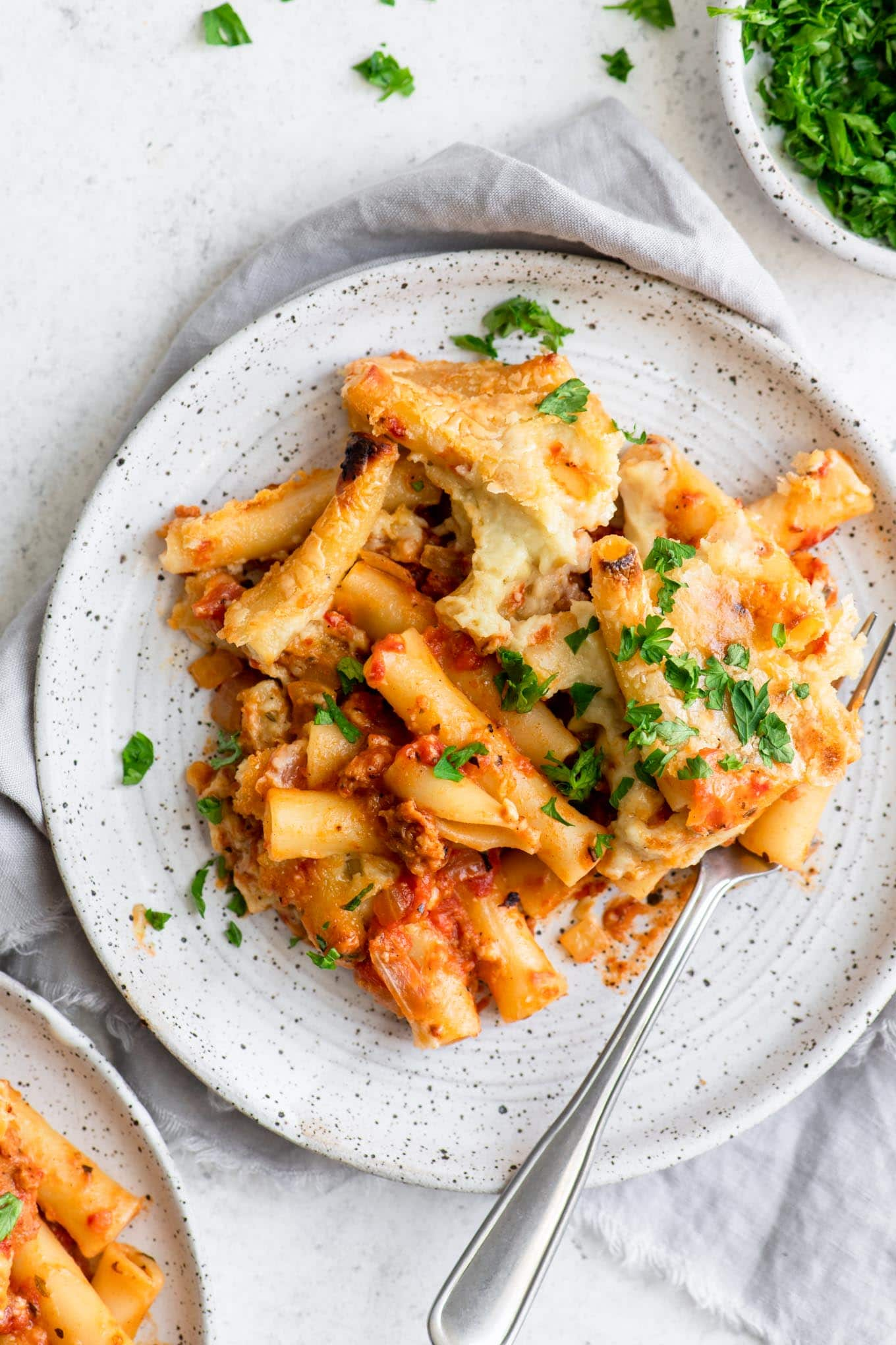 vegan baked ziti on a plate