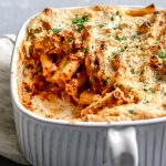 Vegan baked ziti with a scoop of pasta taken out