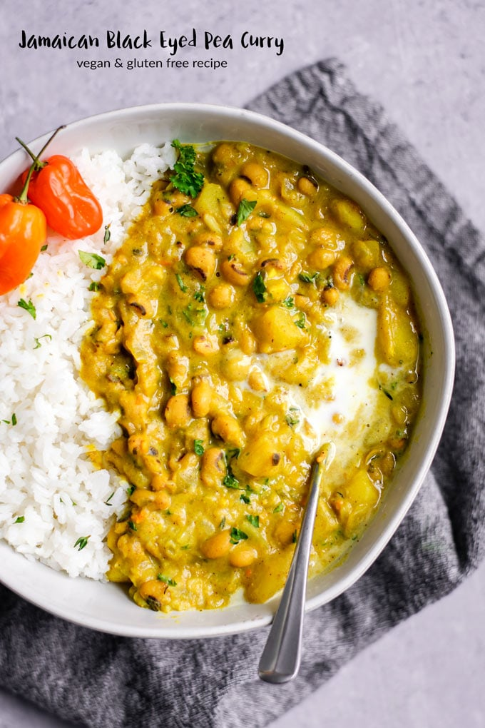 This Jamaican black-eyed pea curry is so delicious. It's creamy, bursting with flavor, hearty, healthy and super easy to make. It's naturally gluten free and vegan. A must make recipe! | thecuriouschickpea.com #vegan #Jamaican #vegancurry #curry #beans #healthy #glutenfree