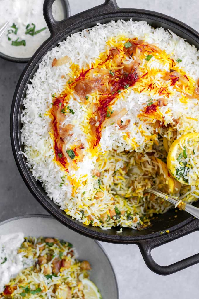 Digging in to see the layers of the Sindhi vegetable biryani