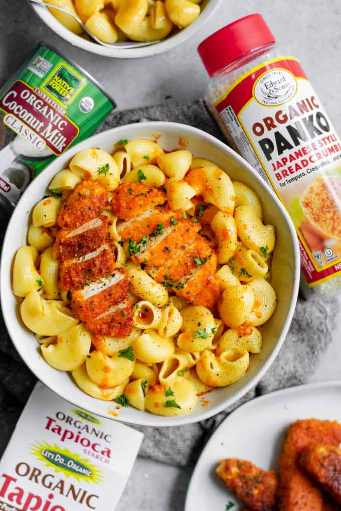 buffalo wing mac and cheese with the Edward & Son's product used in recipe