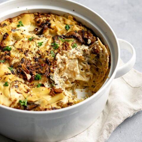 Easy Vegan Mushroom Lasagna Skillet