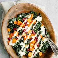 Kale Salad with Roasted Garlic Tahini Dressing