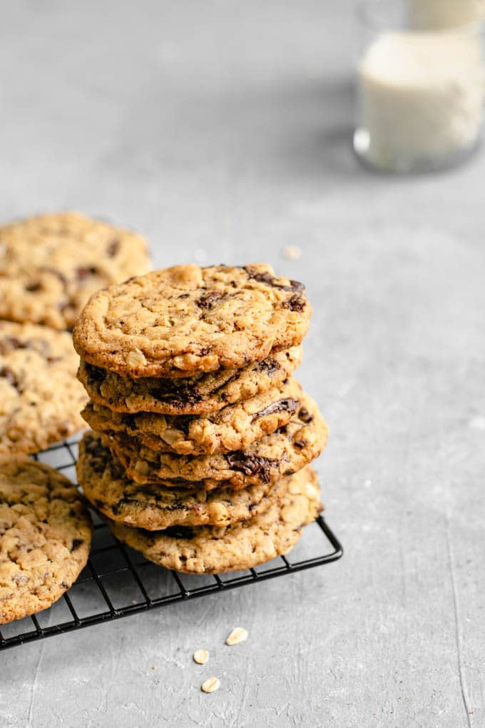 Stack of vegan peanut butter oatmeal chocolate chip cookies