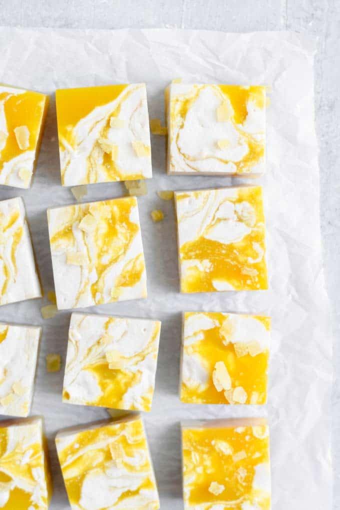 close up of the vegan mango jalapeño jello shots