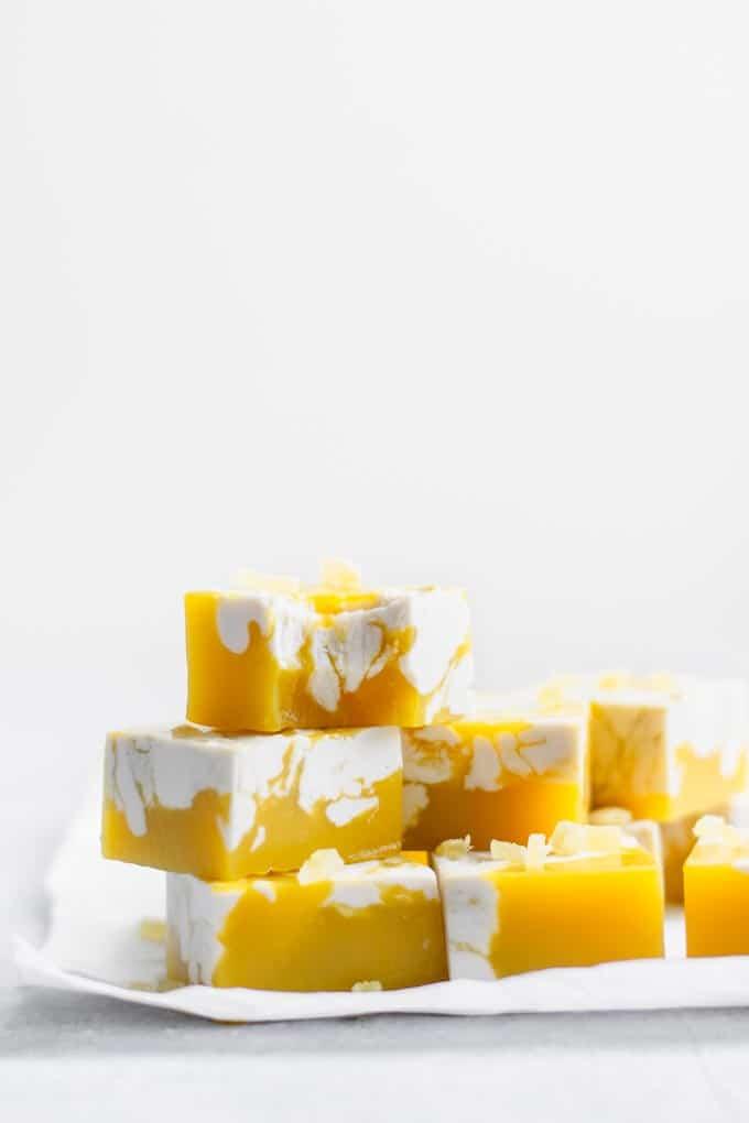 bite of the mango jalapeño jelly with ginger cream swirl