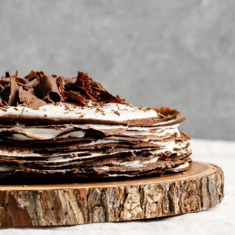 vegan dark chocolate crepe cake with a whiskey cream filling