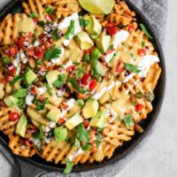 Waffle Fry Nachos with Vegan Queso
