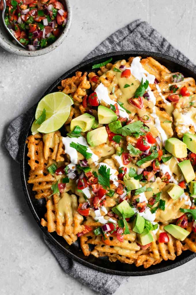 vegan waffle fry nachos