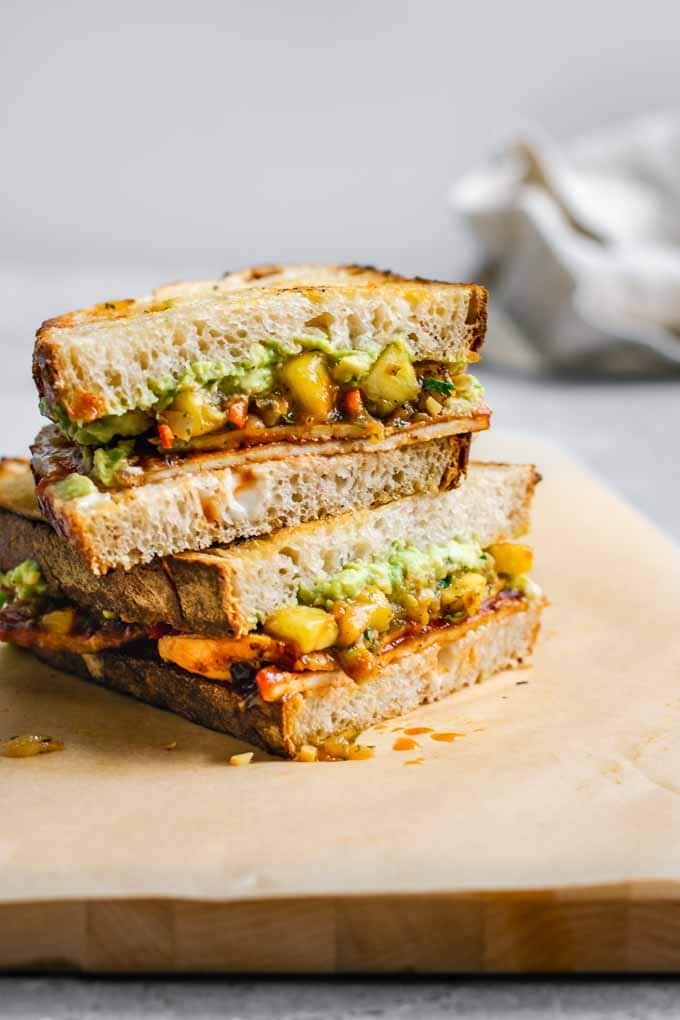 stacked barbecue tofu sandwiches