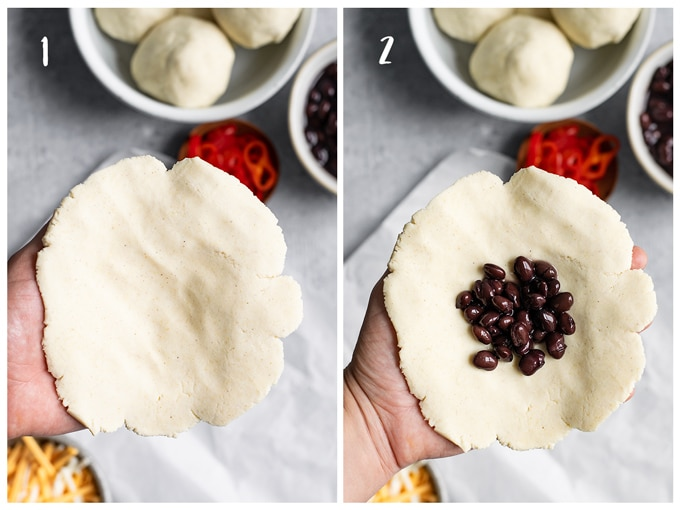 A collage of 2 photos showing the first two steps of shaping pupusas. Photo 1 shows step 1 of shaping the masa to make a flat disk, then photo 2 shows step 2 adding about 1 tbsp of black beans to the center.