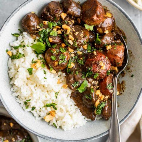 close up of vegan massaman curry with rice