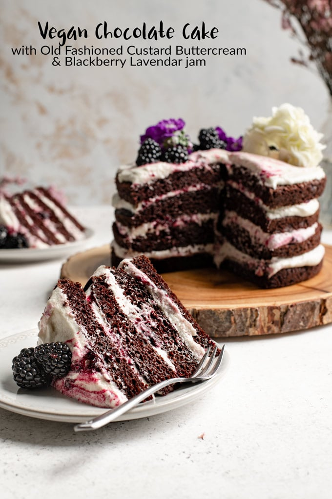 This beautiful and rustic vegan chocolate cake is layered with a simple but out of this world creamy flour frosting and homemade blackberry lavender jam. | thecuriouschickpea.com #vegancake #vegandessert #chocolatecake #blackberry