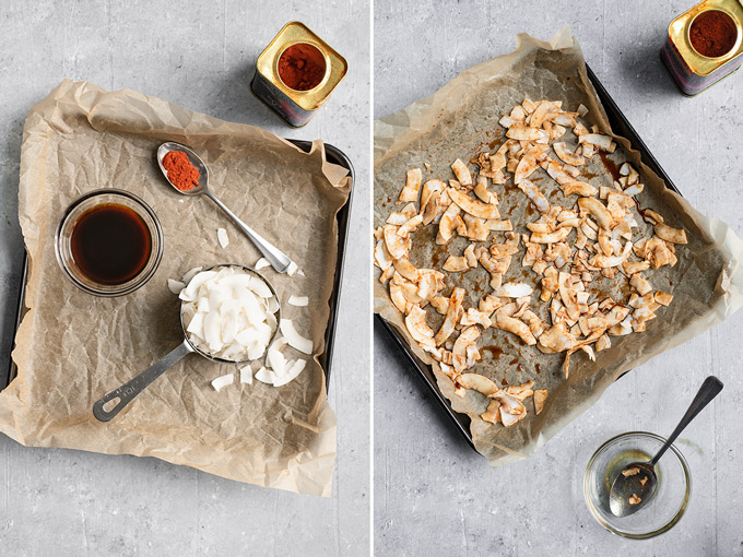 a collage, first photo shows the ingredients to make coconut bacon on a parchment lined baking tray, second photo shows the coconut flakes tossed in the marinade and spread out over a parchment lined baking tray