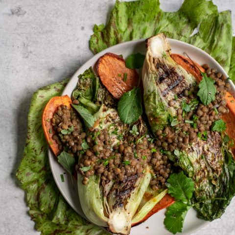 Grilled Salad with Smoky Lentils