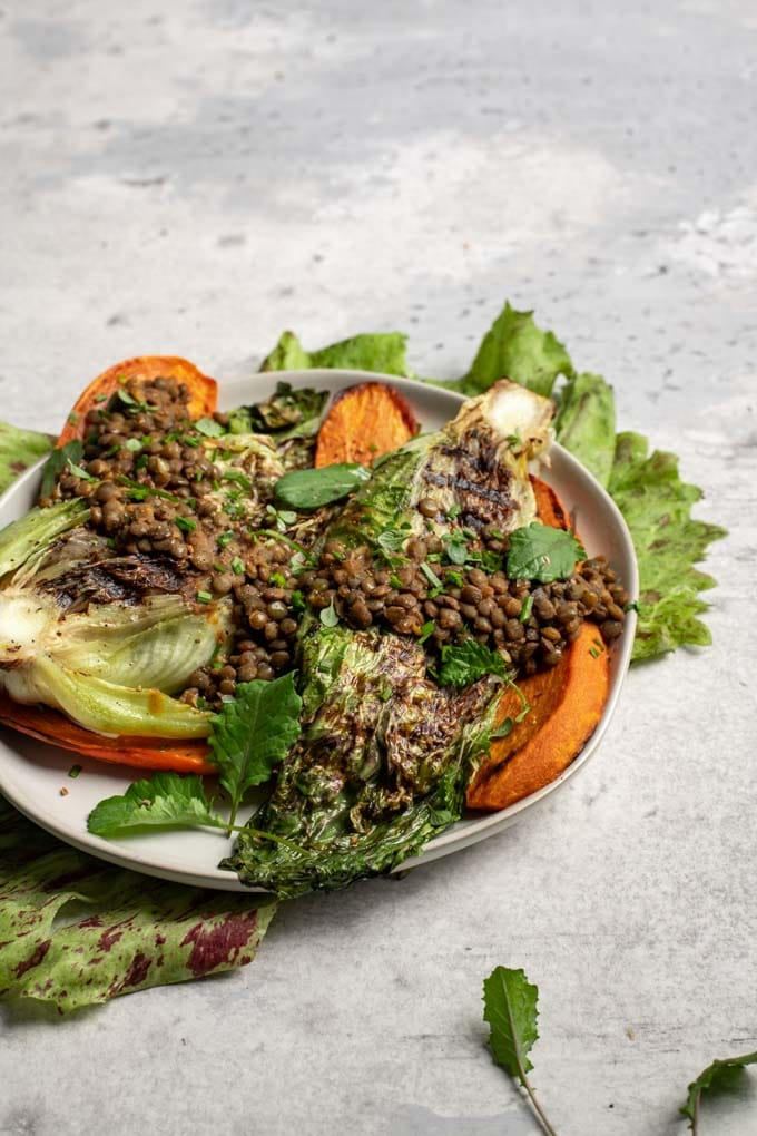 side view of the grilled salad with smoky lentils and roasted sweet potato