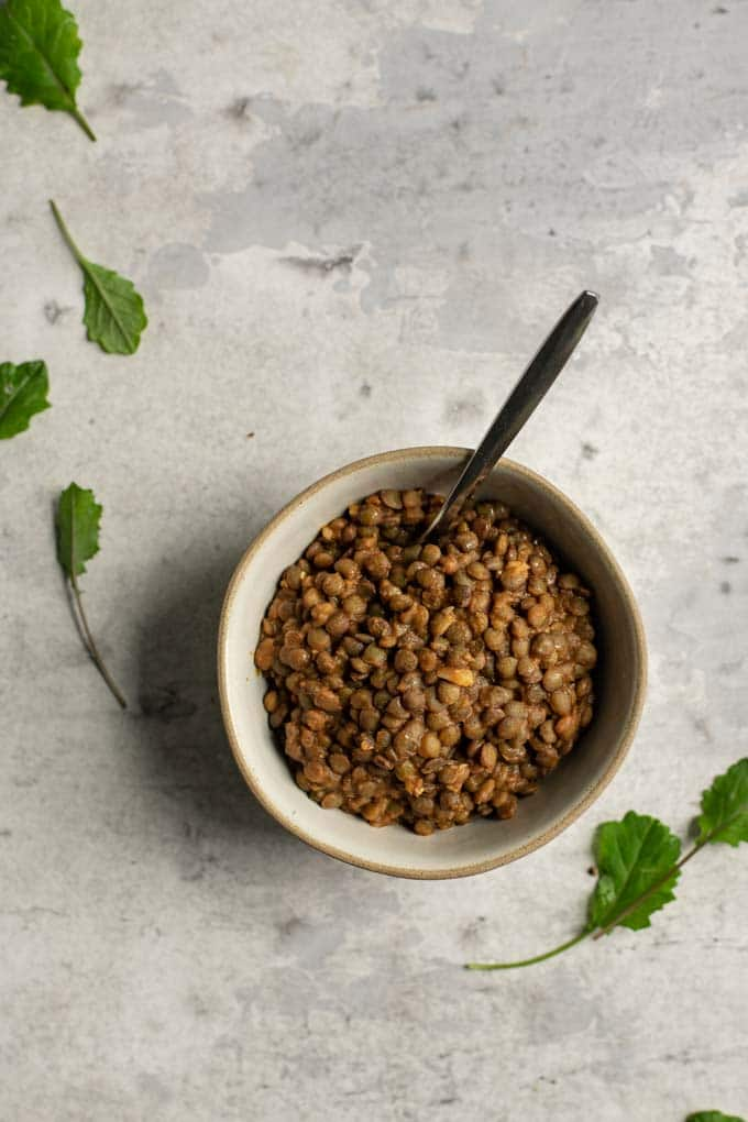 smoky lentils du puy in a bowl with some baby kale to garnish the photo