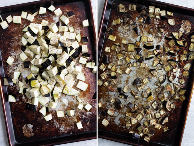 collage of two photos, on the left cubed eggplant on baking tray before roasting. On the right, the eggplant is shown after roasting, where it is deep golden and caramelized.