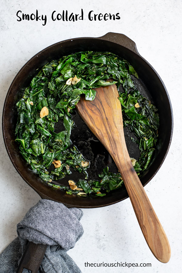 These smoky collard greens are so delicious! They are easy to make and so flavorful. Naturally vegan and gluten free. #vegan #vegetarian #collardgreens #healthy #vegetables #sidedish #veganside