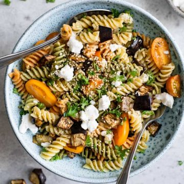 a large bowl of the za'atar pasta salad ready to serve