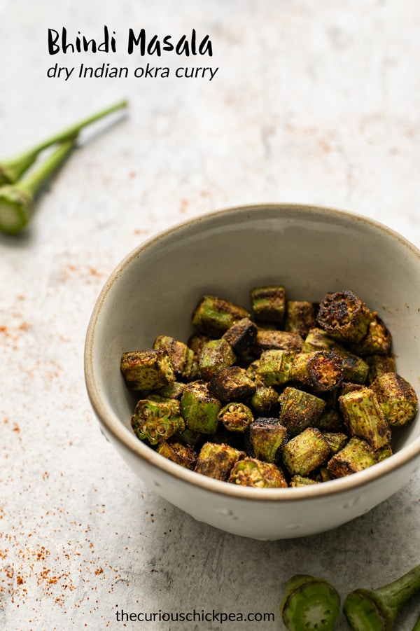 This bhindi masala is a dry Indian curry, that is quick and easy to make! It brings out the best texture of okra and is spiced with garam masala for the most delicious flavors! #bhindi #okra #curry #sabzi #masala #vegan #glutenfree #Indianfood