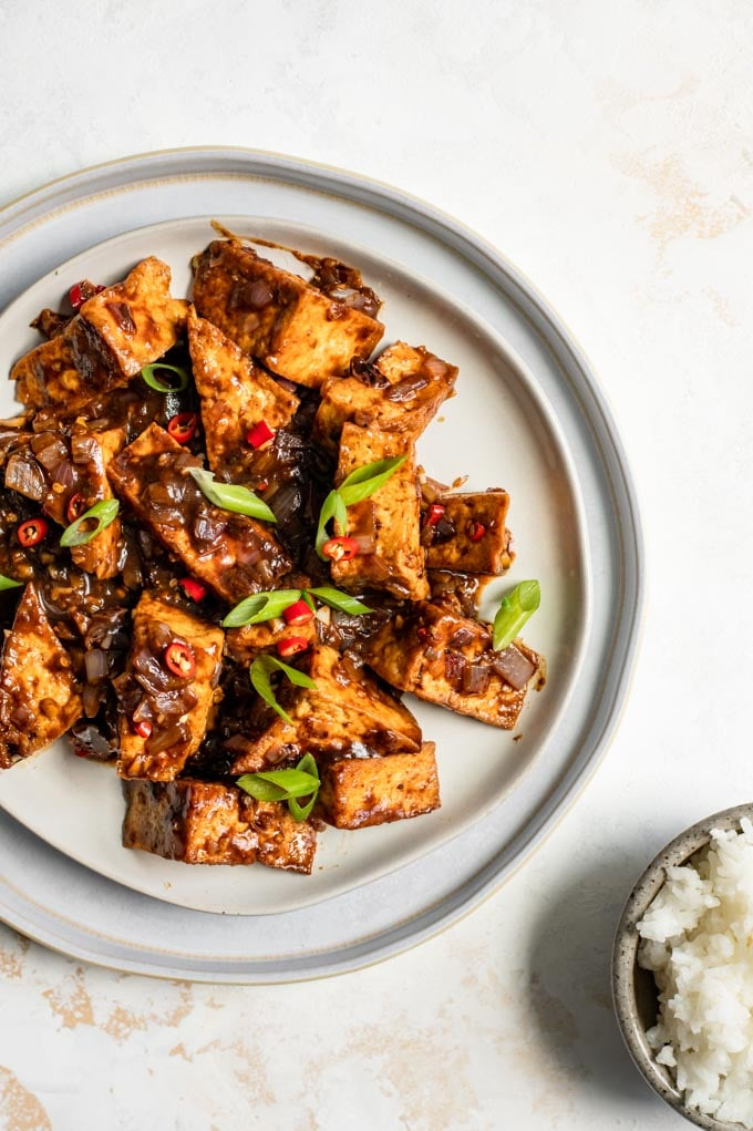 tofu with black bean sauce on a plate served with rice