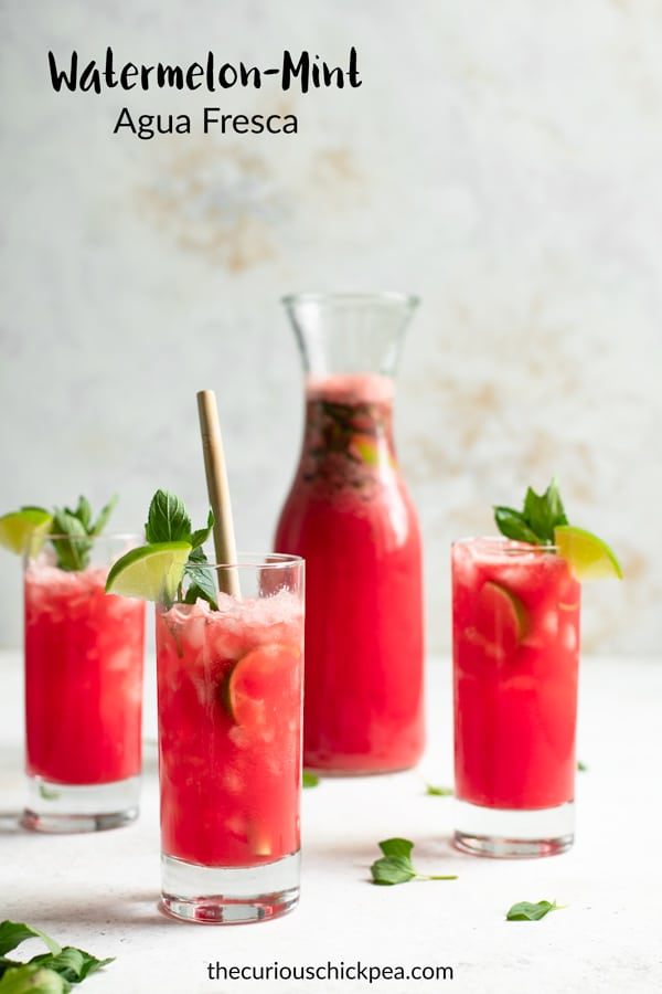Watermelon mint agua fresca are a delicious and refreshing beverage. A great way to enjoy summery fruit while staying hydrated! #thecuriouschickpea #aguafresca #watermelon #beverage #drink