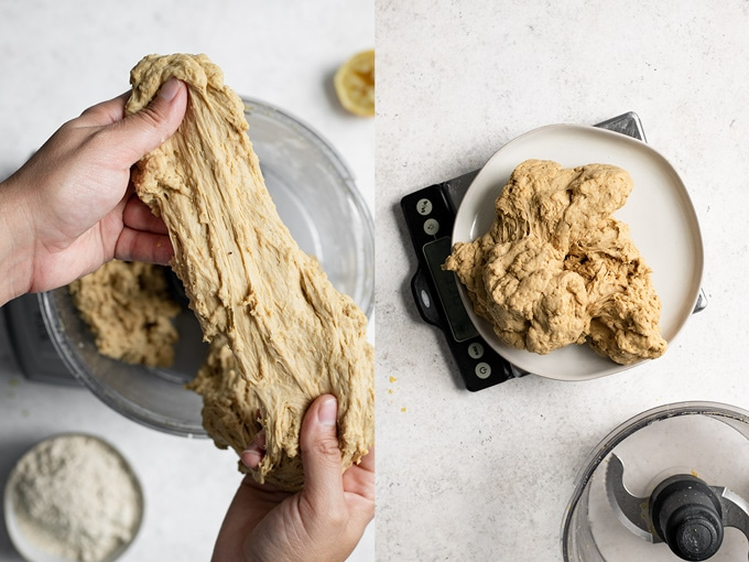 collage showing the texture of the kneaded seitan dough, it's very stretchy and stringy