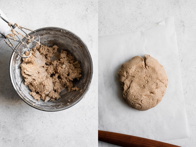 the dough after mixing and after chilling