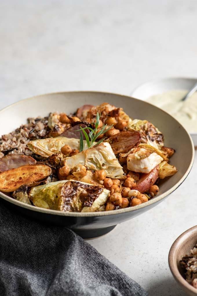 close up of the vegan sheet pan dinner in a bowl