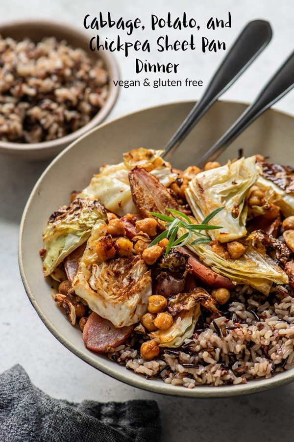 This vegan sheet pan dinner is made with cabbage, potatoes, and chickpeas dressed in a zesty mustard vinaigrette for a nourishing meal. Top with a creamy tarragon gravy and serve with wild rice. #veganentree #veganmeal #vegan #glutenfree #sheetpandinner #cabbage #potato #chickpeas