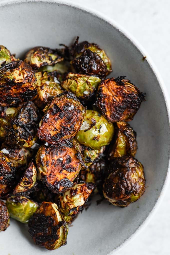 closeup of the roasted brussels sprouts