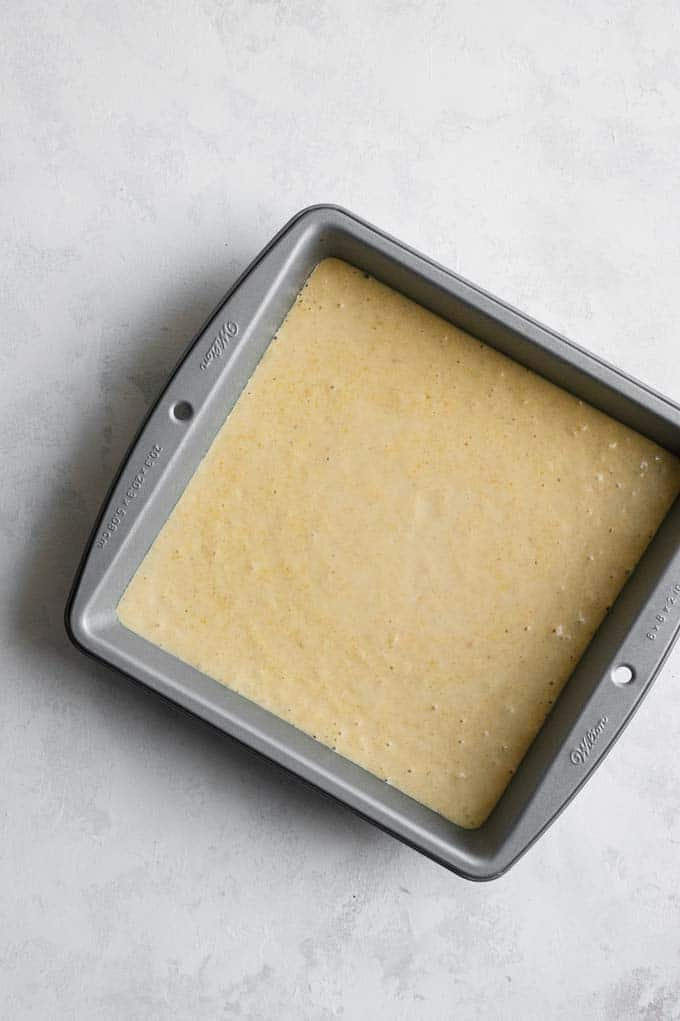 vegan cornbread batter ready to bake