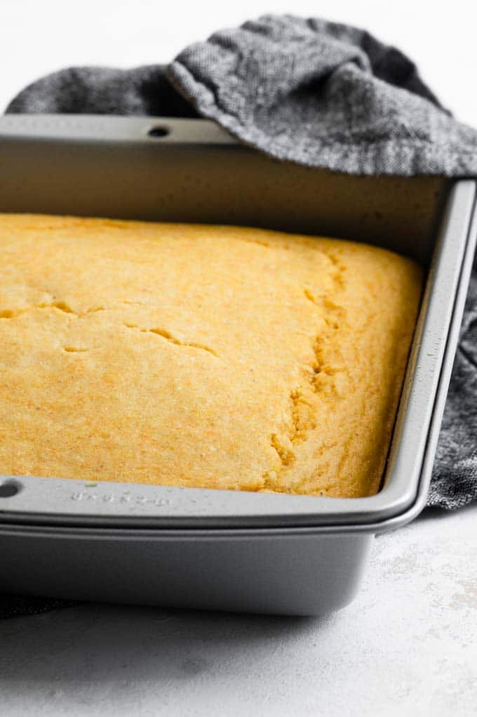 easy vegan cornbread, right out of the oven in its pan
