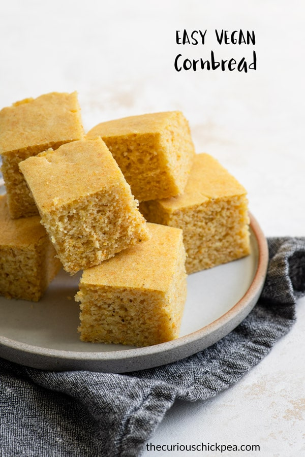 This vegan cornbread is soft and fluffy and incredibly easy to make! It's perfectly tender and not too sweet. #cornbread #veganbaking #baking #vegancornbread