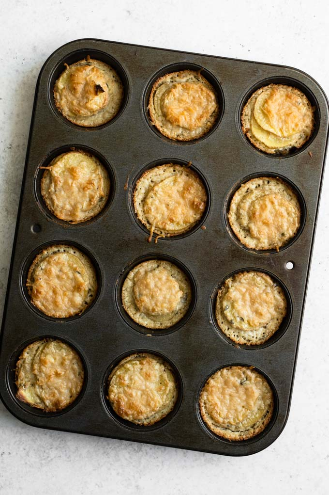 vegan potato stacks baked in muffin tin