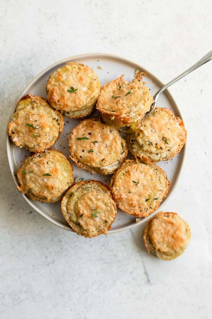 vegan garlic parmesan potato stacks