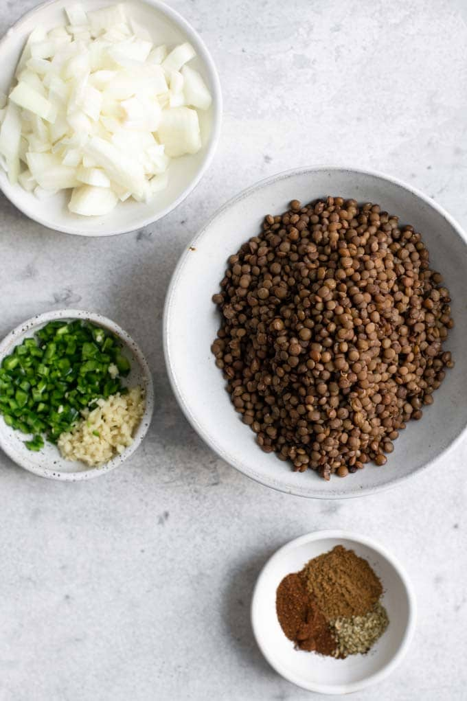 ingredients for lentil enchiladas