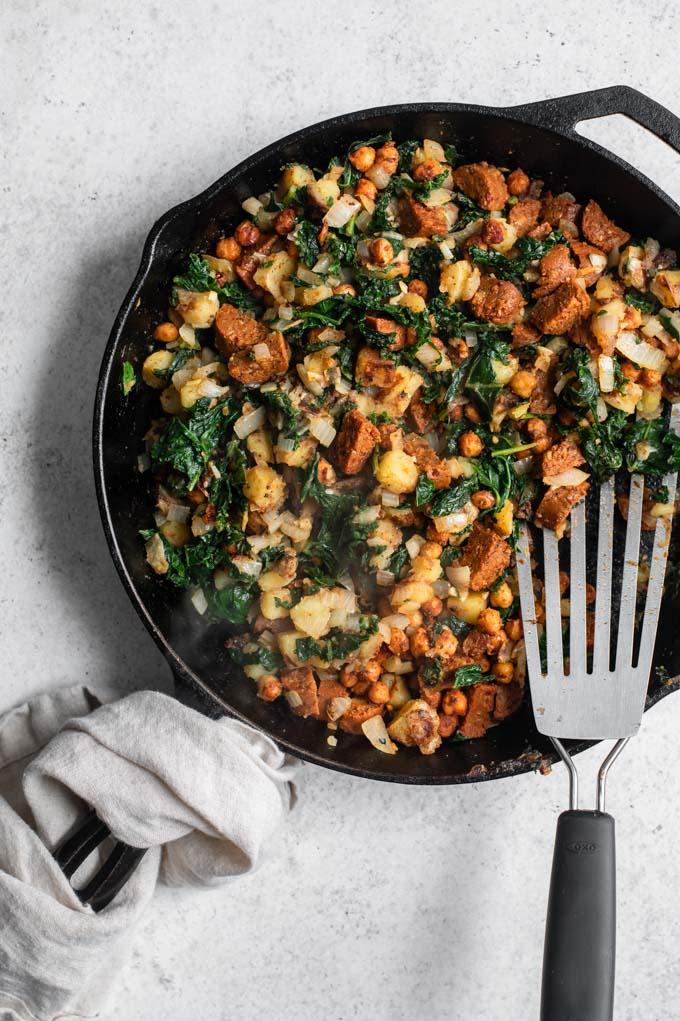 vegan breakfast hash cooked in skillet