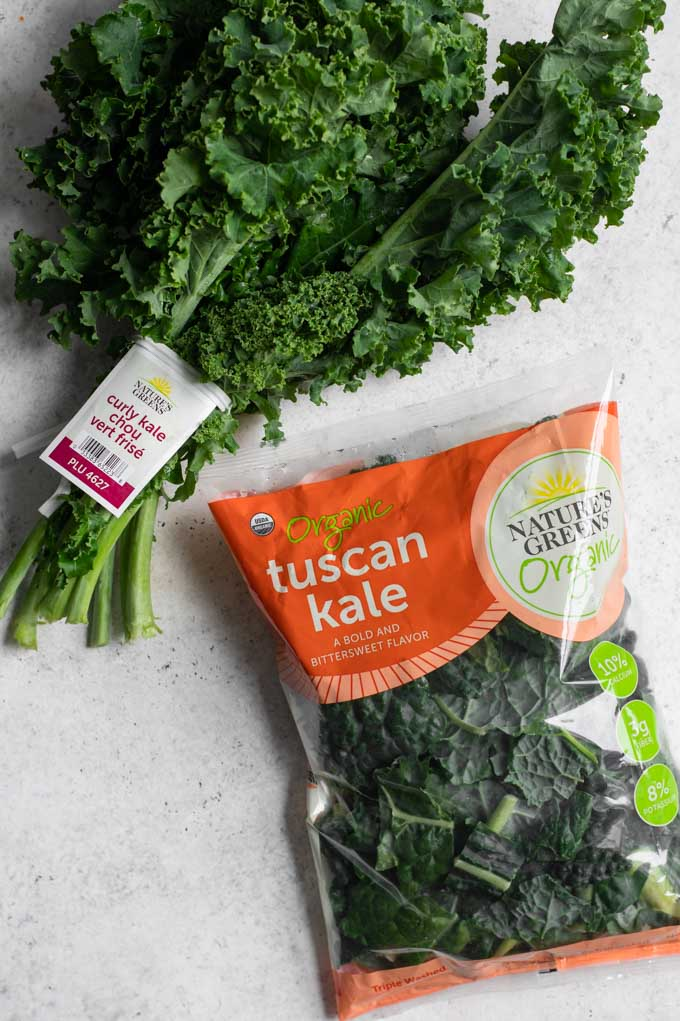 one bunch of kale and one bag of washed and chopped kale by Nature's Greens